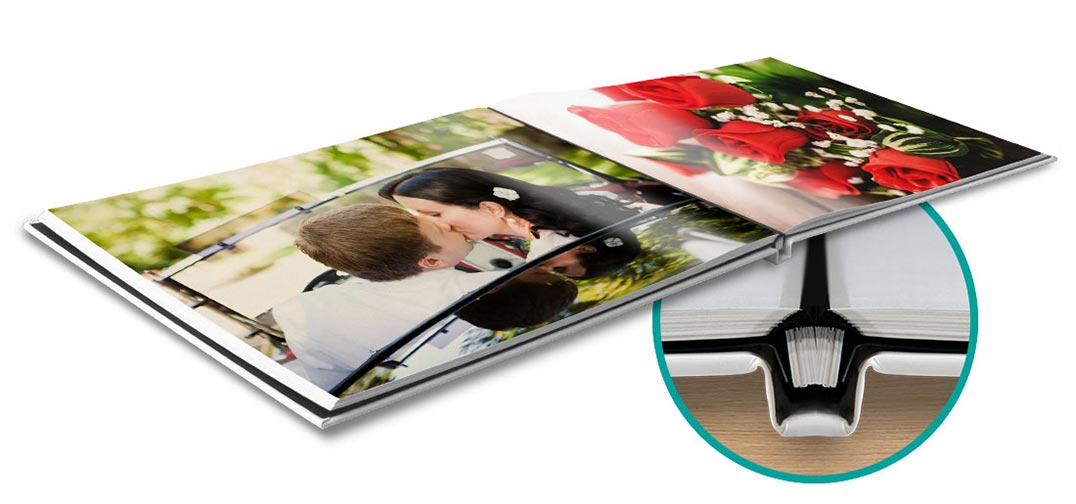 Lay-Flat Photo Book. Perfect for wedding photo albums, birthday photo albums, anniversaries and other special celebrations. Up to 90 pages. Durable glossy finish cover customizable with photos, text, and embellishments. Beautiful archival-quality paper with a satin finish. Create your Professional Lay Flat Photo Book Today.