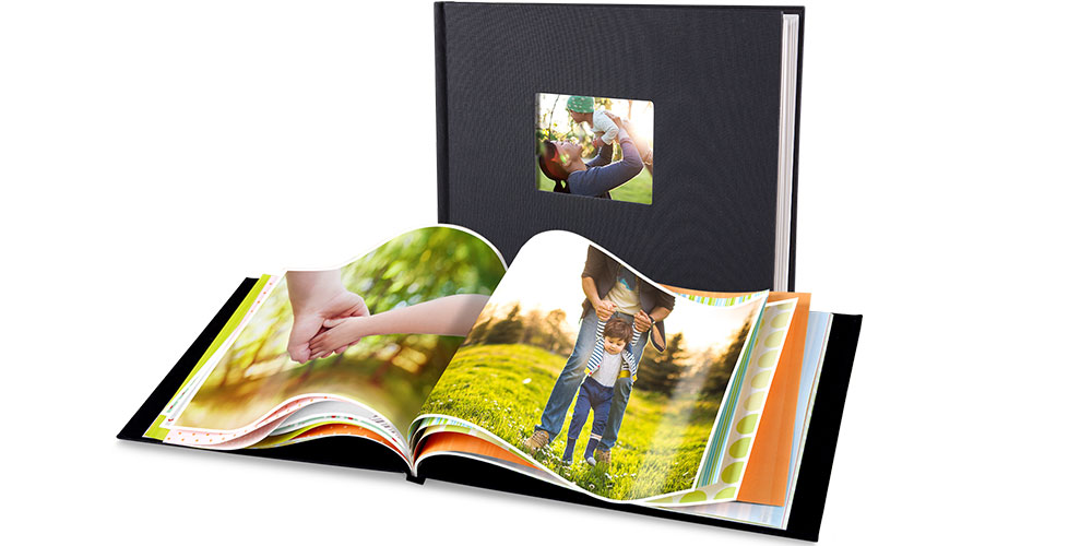 """Photo Books. Create a Custom Photo Book with our 8.5"""" X 11"""" Window Cover Photo Book. Personalize a one-of-a-kind photo book to celebrate the new baby, vacation photos, family recipes and more. Feature up to 15 photos per page and add photo captions and page titles. Die-cut window in cover to showcase a favorite photo. Makes a great gift! Size: 8.5x11 inches."""