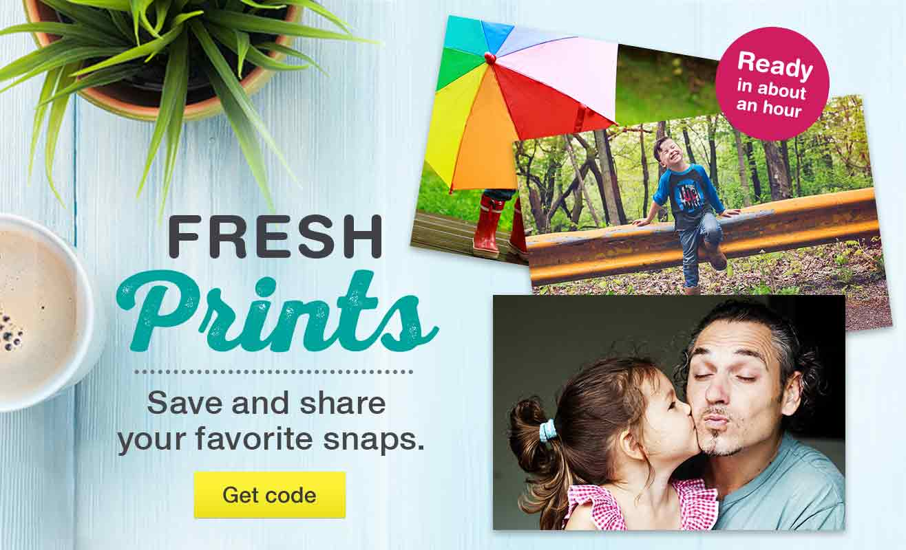 Fresh Prints - Save and share your favorite snaps. Ready in about an hour. Get code.