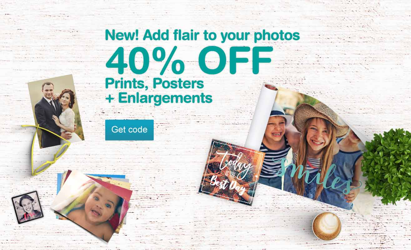 New! Add flair to your photos. 40% OFF Prints, Posters + Enlargements. Get code.