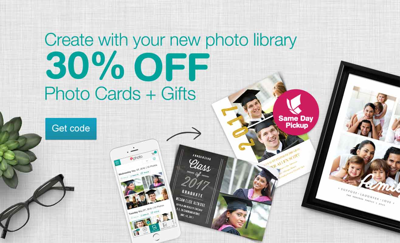 Create with your new photo library. 30% OFF Photo Cards + Gifts. Get code.