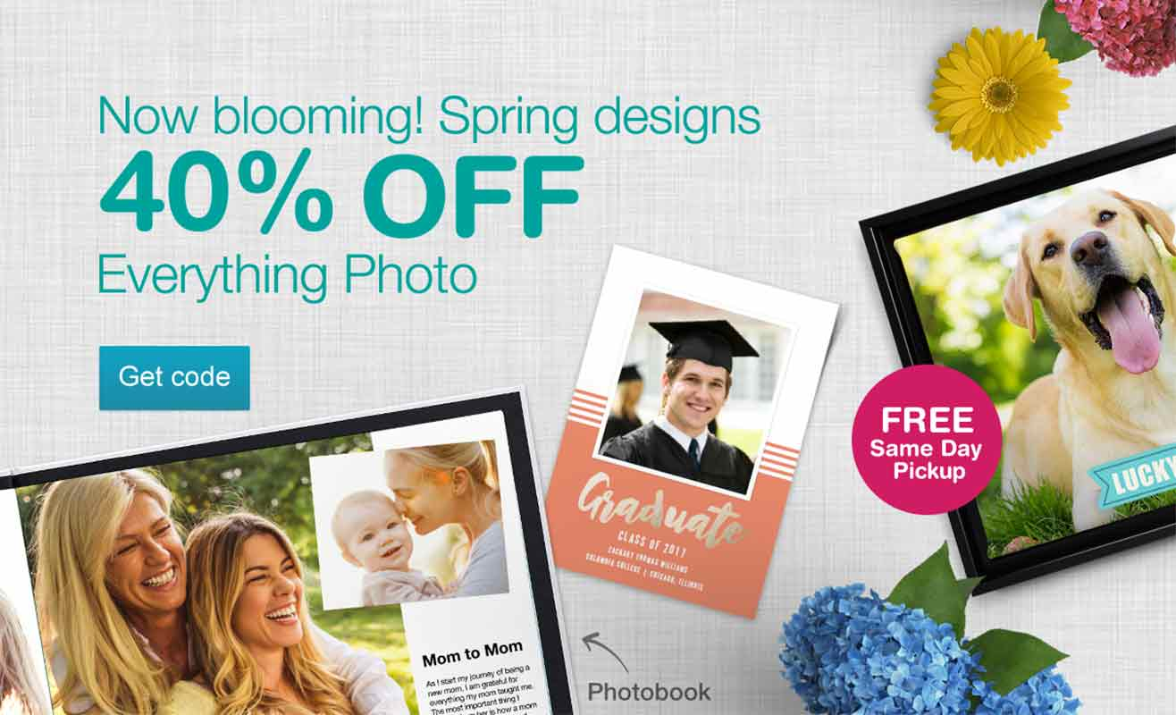 Now blooming! Spring designs. 40% OFF Everything Photo. Get code.