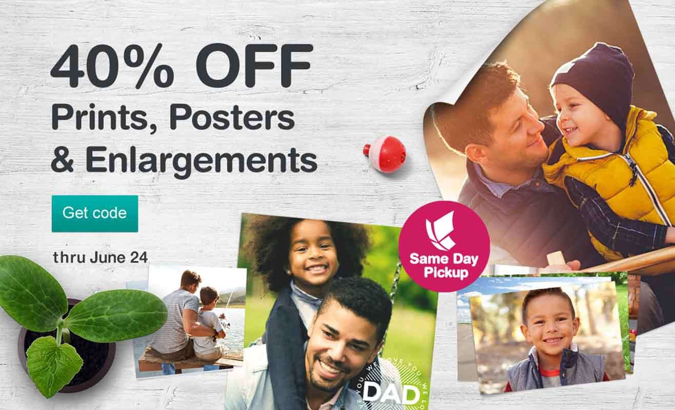 40% OFF Prints, Posters & Enlargements thru June 24. Get code. Same Day Pickup.
