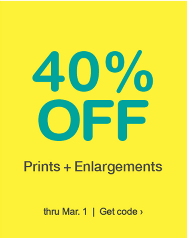 40% OFF Posters & Enlargements thru Mar. 1. Get Code.