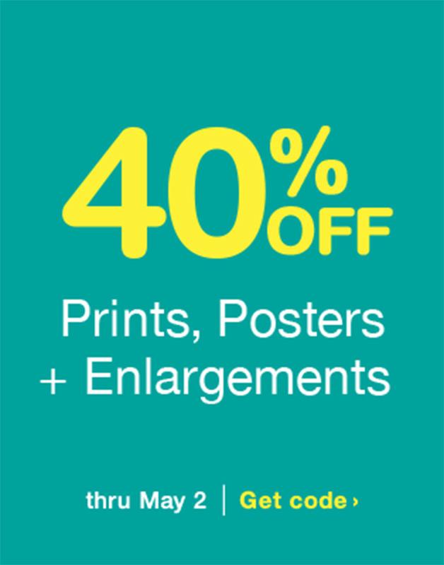 40% OFF Prints, Posters + Enlargements thru May 2. Get code.